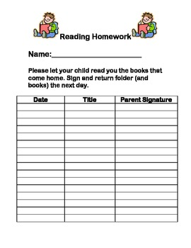 homework sign off sheet