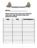 Reading Homework Sign Off Sheet