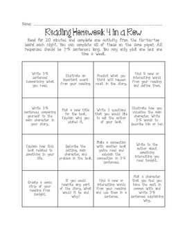Reading Homework Tic-Tac-Toe Board