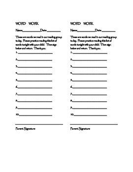 Reading Homework Word List