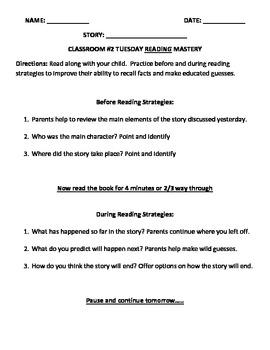 Reading Homework Worksheet