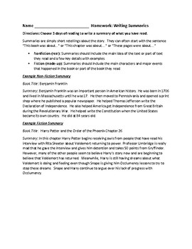 Reading Homework--Writing Summaries