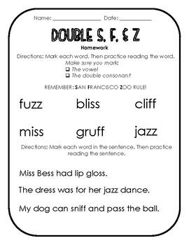 Reading Horizons Double S, F, & Z