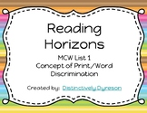 Reading Horizons MCW 1 Concept of Print/Word Discrimination