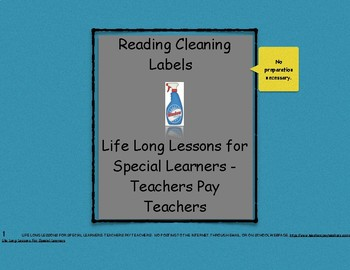 Reading Household Cleaning Labels Packet #1- Life Skills Worksheets