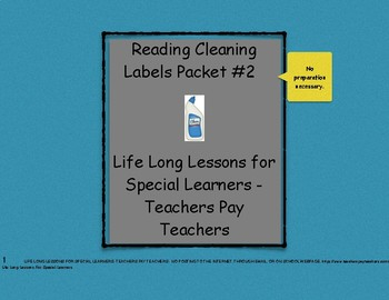 Reading Household Cleaning Labels Packet #2- Life Skills Worksheets