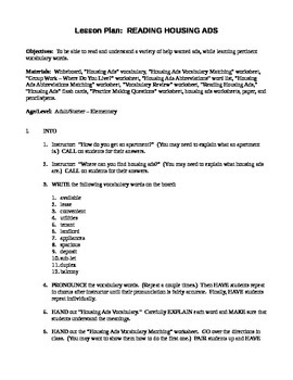 Reading Housing Ads Lesson Plan + Worksheets