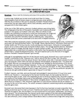 "Reading: ""How Teddy Roosevelt Saved Football"" (Progressive Era)"