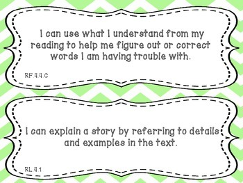 """Reading """"I Can"""" Statements Fourth Grade Common Core"""