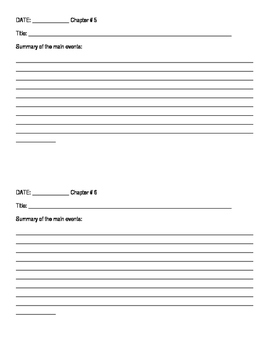 Reading Immersion Summary Packet