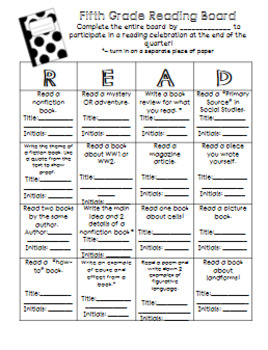 Reading Incentive: Book Bingo