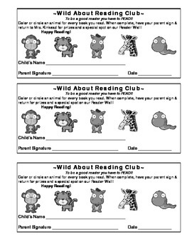 Reading Incentive Card-Wild About Reading