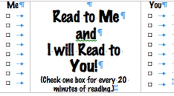 Reading Incentive Cards for Home Reading (20 minutes)