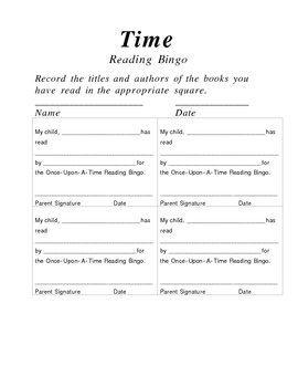 Reading Incentive - Once-Upon-A-Time Reading Bingo