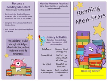 Reading Incentive Tri-folds - Monster Themed