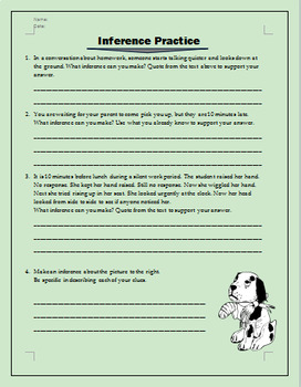 Reading Inferences Practice