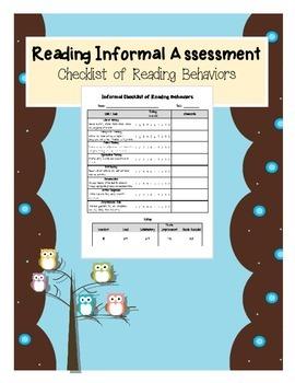 Reading and Literacy Informal Assessment - Checklist of Reading Behaviors