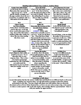 Reading Informational Text, Common Core Activity Menu/Literacy Centers Grade 4