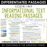 Reading Informational Text Passages - Print & Interactive Digital
