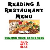 Reading Informational Text - Restaurant Menu - RI.7.1. - RI.7.3. - RI.7.5.