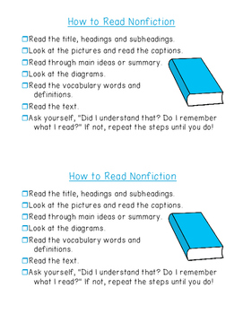 Reading Informational Text - Student Checklist {ELA nonfic