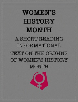 Reading Informational Text: Women's History Month