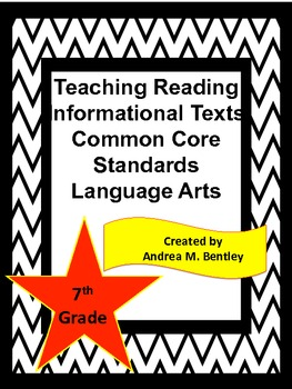 Reading Informational Texts Common Core Standards and Vocabulary Word Wall