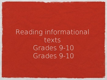 Reading Informational Texts-- HUGE CCSS ELA RI 9-10 ALIGNED bundle