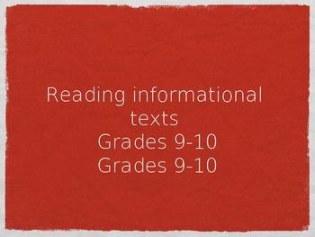 Reading Informational Texts-- HUGE CCSS ELA RI 9-10 ALIGNE