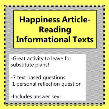 Reading Informational Texts- New York Time's Happiness Article