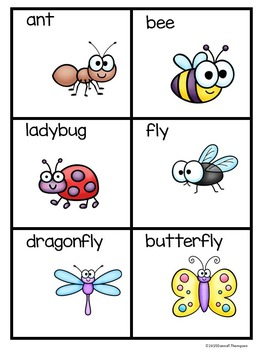 """Reading """"Insects and Bugs"""" (Matching Cards Game)"""