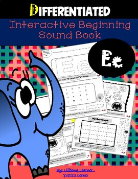 """DIFFERENTIATED Interactive Beginning Sound """"E"""" Book...DISTANCE LEARNING"""