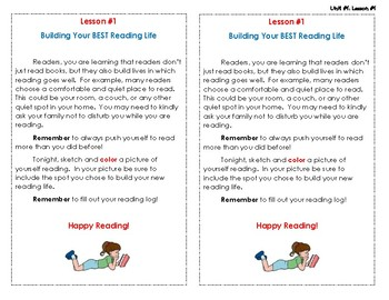 Reading Interactive Notebook - Lesson #1 - Homework