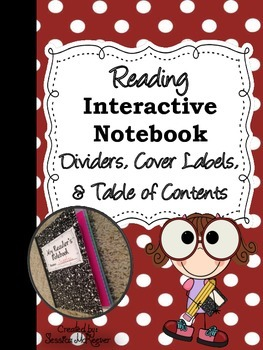Reading Interactive Notebook Page Dividers, Cover Labels,