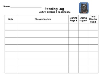 Reading Interactive Notebook - Reading Log for School