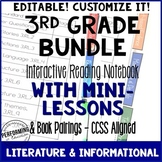 3rd Grade Reading Interactive Notebook with EDITABLE Lesso
