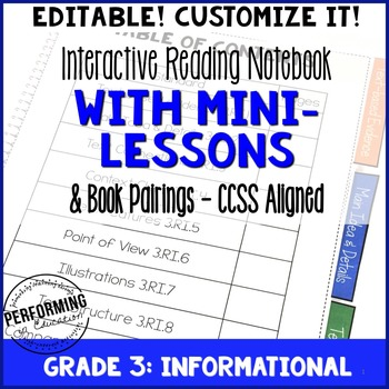 Reading Interactive Notebook with EDITABLE Lessons 3rd Grade Informational CCSS