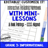 Reading Interactive Notebook Third Grade Informational CCSS EDITABLE