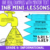 Reading Interactive Notebook with Mini Lessons - 6th Infor