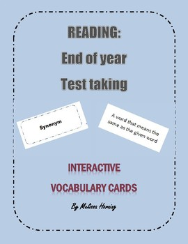 Reading Interactive Vocabulary Card Game for End of Year Review Test VA SOL