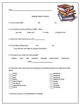 Reading Interest Inventory (RII) guided reading groups