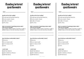 Reading Interest Questionnaire (Survey) Bookmark