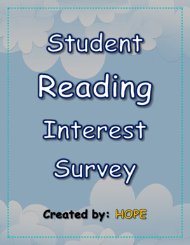 Beginning of the Year Student Reading Interest Survey