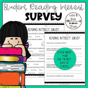 Back to School Student Reading Interest Survey