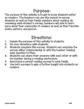 Reading Interest Survey Packet