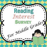 Reading Interest Survey for middle grades
