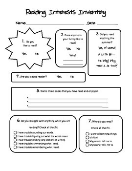 Reading Interests Inventory for Upper Elementary