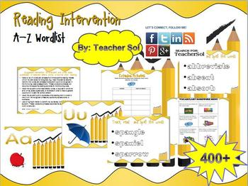 Reading Intervention 400+ Word List A-Z with Menu RF 4.3