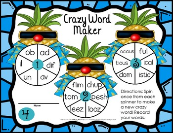 Reading Intervention: Advanced Decoding Word Parts CREATE A WORD SPINNER MATS