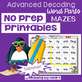 SUMMER READING Decoding Multisyllabic Words PARTS MAZES PRINTABLES Intervention